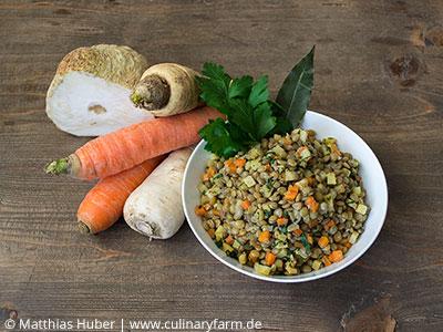 Foto Salat Alblinsen, Wurzelgemüse
