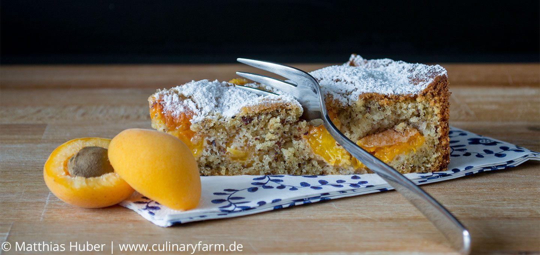 nicht zu süß, fruchtig, nussig und mit einem Klecks geschlagene Sahne: Aprikosen-Haselnuss-Kuchen
