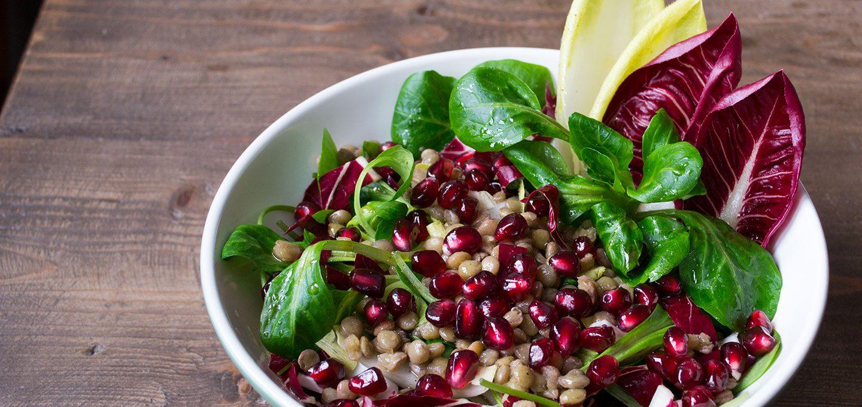 Leicht herbe Salate wie Radicchio und Chicorée passen gut zu Alblinsen und Granatapfelkernen